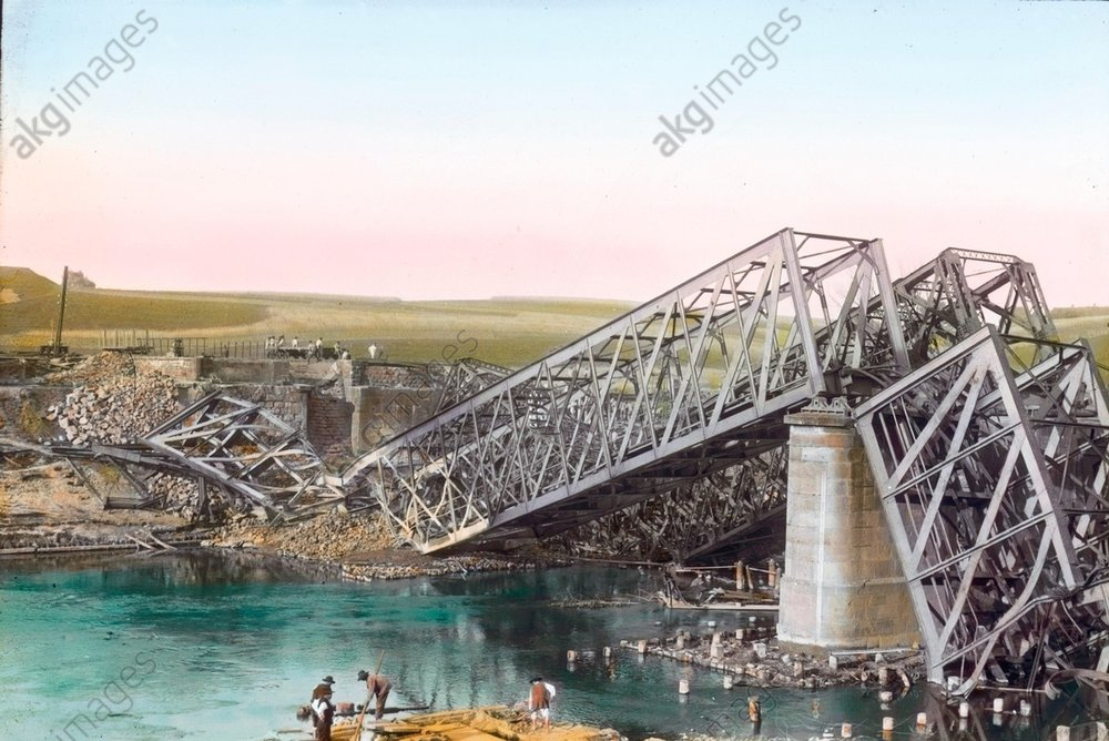 - Destroyed railway bridge, Russia, 1915 -