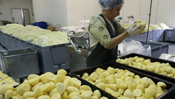 Сотрудница за работой на калининградской фабрике по переработке овощей и фруктов. Архивное фото