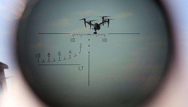 БПЛА, наблюдаемый через оптический прицел, во время учений по борьбе с воздушными целями. Архивное фото