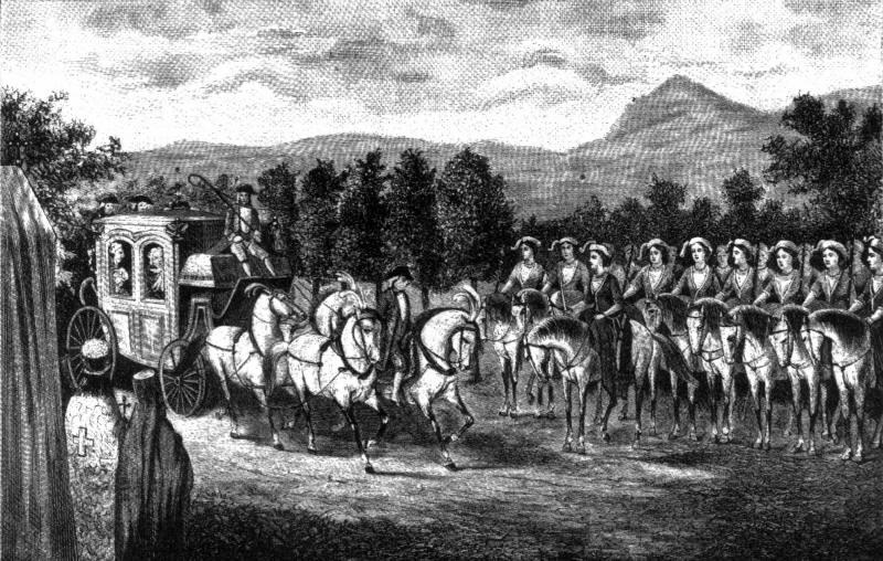 Амазонская рота встречает Екатерину II в Крыму
