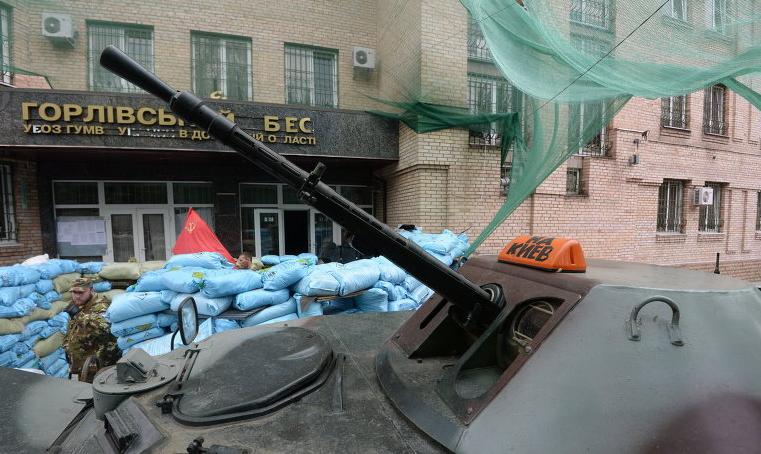 На фото штаб отряда ополчения Игоря Безлера в городе Горловка Донецкой области