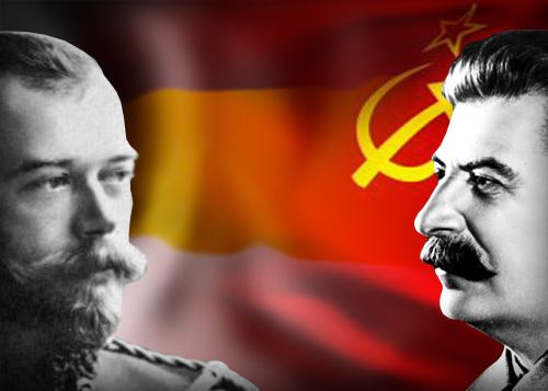 коллаж Николай 2, Сталин, белые, красные|Фото: