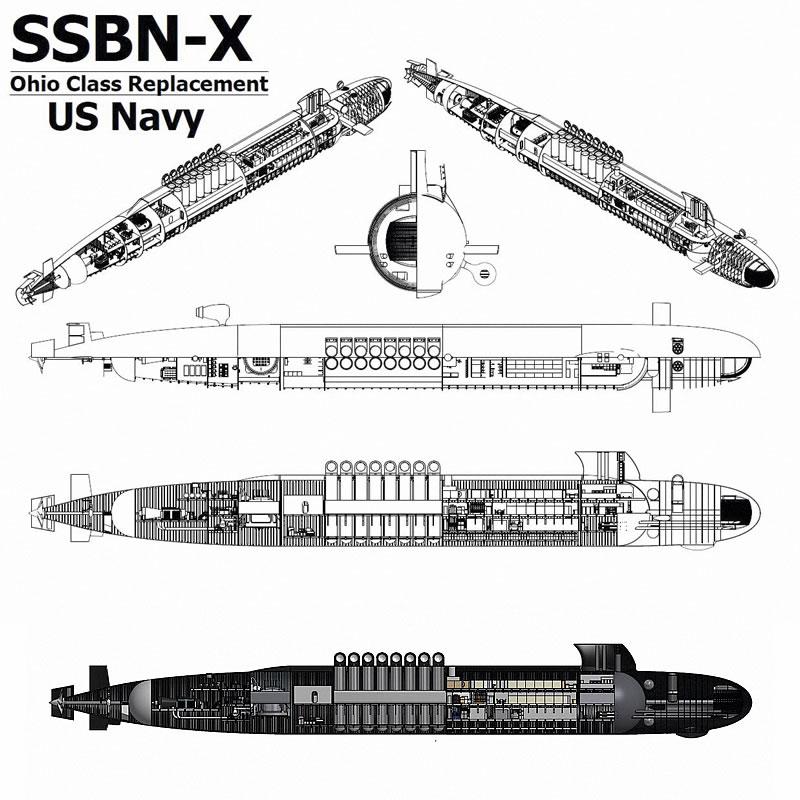 Проекции перспективной американской подводной лодки стратегического назначения SSBN(X).
