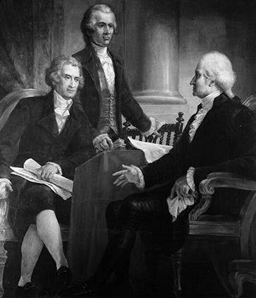 Первый президент США Джордж Вашингтон совещается с министрами